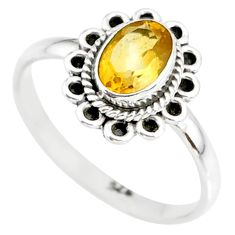 1.60cts natural yellow citrine 925 silver solitaire ring jewelry size 7 r85596