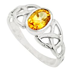 1.42cts natural yellow citrine 925 silver solitaire ring jewelry size 8 r25371