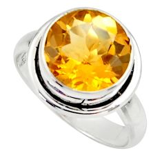6.31cts natural yellow citrine 925 silver solitaire ring jewelry size 8 r48081