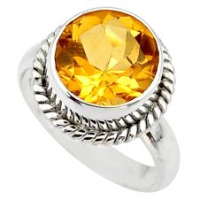 6.29cts natural yellow citrine 925 silver solitaire ring jewelry size 8 r48085