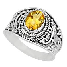 2.08cts natural yellow citrine 925 silver solitaire ring jewelry size 8 r58028