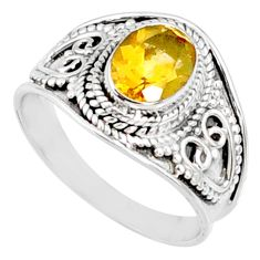 2.17cts natural yellow citrine 925 silver solitaire ring jewelry size 8 r68985