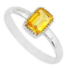 1.41cts natural yellow citrine 925 silver solitaire ring jewelry size 8 r77187