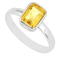 2.28cts natural yellow citrine 925 silver solitaire ring jewelry size 8 r84036