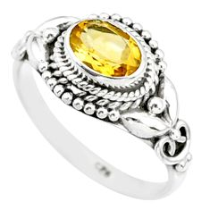 1.58cts natural yellow citrine 925 silver solitaire ring jewelry size 8 r85583