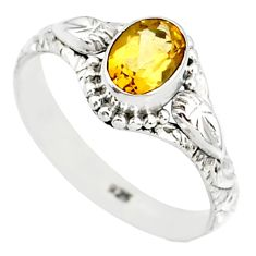 1.55cts natural yellow citrine 925 silver solitaire ring jewelry size 8 r85588