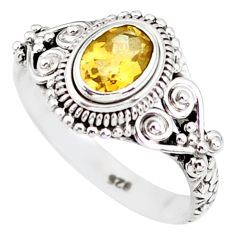 1.48cts natural yellow citrine 925 silver solitaire ring jewelry size 8 r85616