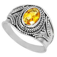 1.73cts natural yellow citrine 925 silver solitaire ring jewelry size 9 r58630