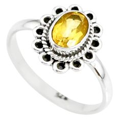 1.42cts natural yellow citrine 925 silver solitaire ring jewelry size 9 r85614