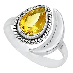 2.56cts natural yellow citrine 925 sterling silver moon ring size 7 r89651