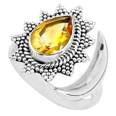 2.85cts natural yellow citrine 925 sterling silver moon ring size 8 r89852