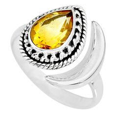 2.82cts natural yellow citrine 925 sterling silver moon ring size 9 r89769