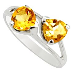 2.96cts natural yellow citrine 925 sterling silver heart ring size 7.5 r25635