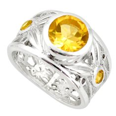 3.16cts natural yellow citrine 925 sterling silver ring jewelry size 5.5 d46367