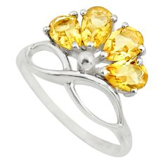 4.25cts natural yellow citrine 925 sterling silver ring jewelry size 7.5 r25392
