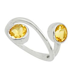 2.93cts natural yellow citrine 925 sterling silver ring jewelry size 6.5 r25432