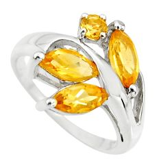 5.84cts natural yellow citrine 925 sterling silver ring jewelry size 6.5 r25493