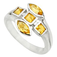 3.80cts natural yellow citrine 925 sterling silver ring jewelry size 6.5 r25505