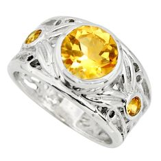 3.44cts natural yellow citrine 925 sterling silver ring jewelry size 6.5 r25776