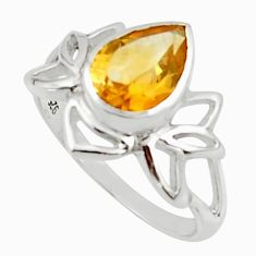 3.14cts natural yellow citrine 925 sterling silver ring jewelry size 7.5 r45711