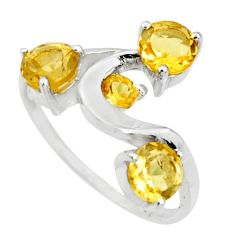 2.94cts natural yellow citrine 925 sterling silver ring jewelry size 6 r25416