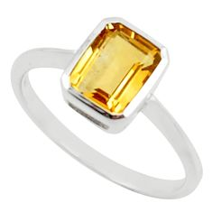 2.07cts natural yellow citrine 925 sterling silver ring jewelry size 6 r45749