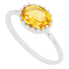 2.09cts natural yellow citrine 925 sterling silver ring jewelry size 7 t8123