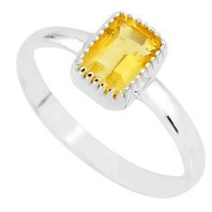 1.42cts natural yellow citrine 925 sterling silver ring jewelry size 7.5 t7459