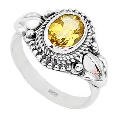 1.97cts natural yellow citrine 925 sterling silver solitaire ring size 6 r93879
