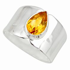 2.03cts natural yellow citrine 925 sterling silver solitaire ring size 7 r26822