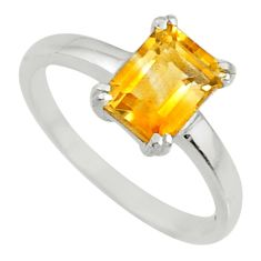 1.98cts natural yellow citrine 925 sterling silver solitaire ring size 7 r71105