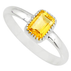1.42cts natural yellow citrine 925 sterling silver solitaire ring size 7 r77163