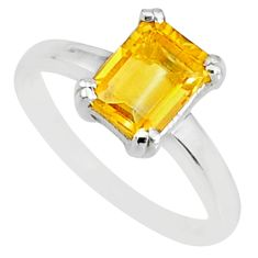 2.11cts natural yellow citrine 925 sterling silver solitaire ring size 8 r83903