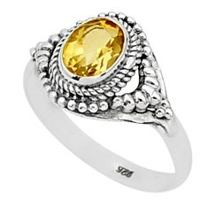 1.73cts natural yellow citrine 925 sterling silver solitaire ring size 8 t1383