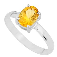 2.15cts natural yellow citrine 925 sterling silver solitaire ring size 9 t7718