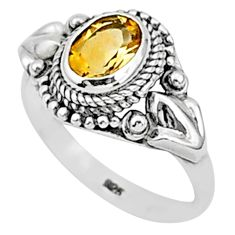1.99cts natural yellow citrine 925 sterling silver solitaire ring size 7.5 t1346