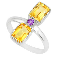 3.17cts natural yellow citrine amethyst 925 sterling silver ring size 7 r77213