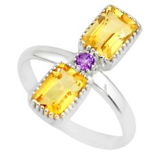 3.33cts natural yellow citrine amethyst 925 sterling silver ring size 8 r77215