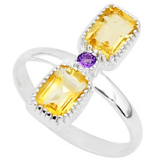 3.34cts natural yellow citrine amethyst 925 sterling silver ring size 8 t5564