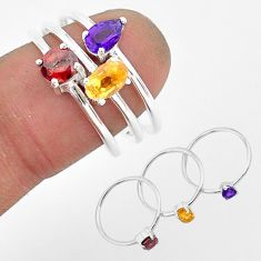 2.91cts natural yellow citrine amethyst garnet 925 silver 3 rings size 8 r93133