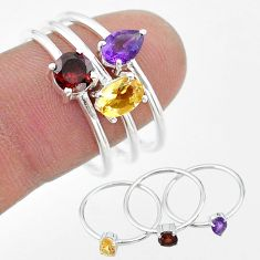2.97cts natural yellow citrine amethyst garnet 925 silver 3 rings size 9 t17718