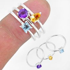3.26cts natural yellow citrine amethyst topaz 925 silver 3 rings size 8.5 r93070
