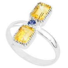 2.82cts natural yellow citrine blue iolite 925 sterling silver ring size 6 t5589