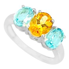 5.45cts natural yellow citrine blue topaz 925 sterling silver ring size 7 r84094