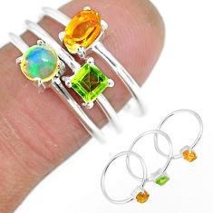 2.77cts natural yellow citrine ethiopian opal 925 silver 3 rings size 6.5 r92479