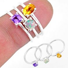 3.12cts natural yellow citrine ethiopian opal 925 silver 3 rings size 6 r93034