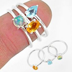 2.81cts natural yellow citrine ethiopian opal 925 silver 3 rings size 6 r93056