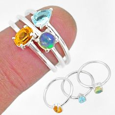2.81cts natural yellow citrine ethiopian opal 925 silver 3 rings size 6 r93057
