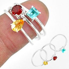 3.18cts natural yellow citrine garnet 925 silver 3 rings size 6.5 r92462