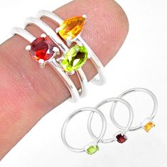 2.81cts natural yellow citrine garnet 925 silver stackable ring size 6.5 r79843